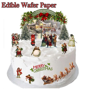 200pcs Christmas image Edible Pre Cut Wafer Cupcake Toppers,Cake Idea Decoration For Christmas Party.