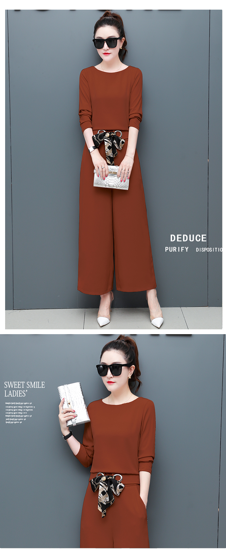 Chiffon 2 Piece Set Women Long Sleeve Tops And Wide Leg Pants Trousers Set Suits Spring Autumn Casual Office Elegant Women's Set 17
