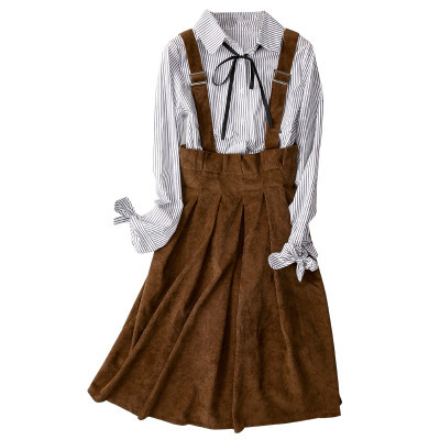 Womens Corduroy Suspender <font><b>Skirts</b></font> High Waist Pleated A-Line Flare Straps <font><b>Skirt</b></font> Female Vintage <font><b>Bib</b></font> Overall <font><b>Skirt</b></font> A72407 image
