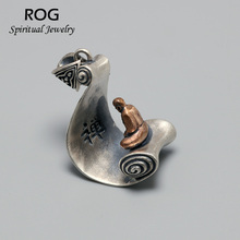 925 Sterling Silver Buddha Figure Pendant For Men And Women Retro Antique Sit In Meditation Enlightenment Buddhism Jewelry