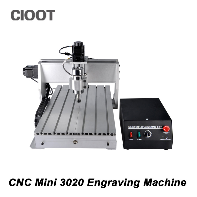 Free Shipping 3 Axis CNC Router Engraving Machine 3020 Mini CNC Milling Machine Driling Engraver With 300W Spindle Motor cnc 5axis a aixs rotary axis t chuck type for cnc router cnc milling machine best quality