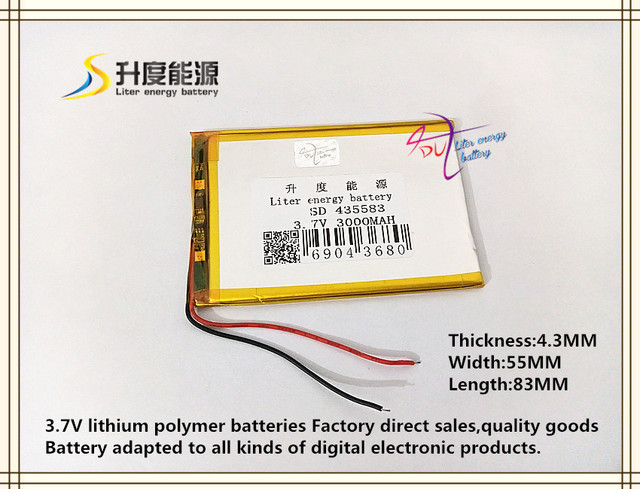 3.7V 3000mAH 435583 Polymer lithium ion / Li ion battery for tablet ...