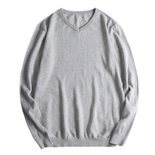 Plus Size Sweaters For Men Knitted Sweater Long Sleeve V neck Solid Color Sweater Pullover Men