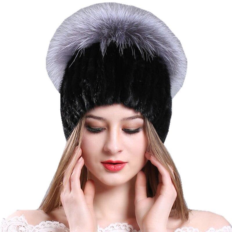 2018 Mujeres de Visón Sombrero de Invierno Sombreros de Punto Caliente Rojo y Astilla de Piel de Zorro Casquillo Hembra Con Pom Pom Beanie Skullies Gorros de Punto de Las Señoras Tapas