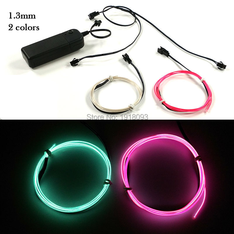 2017 Newstyle Multicolor 1.3mm 1Meter 2pieces DC-3V EL Wire Set led string Offer 360 degrees lighting Waterproof Event Party Su