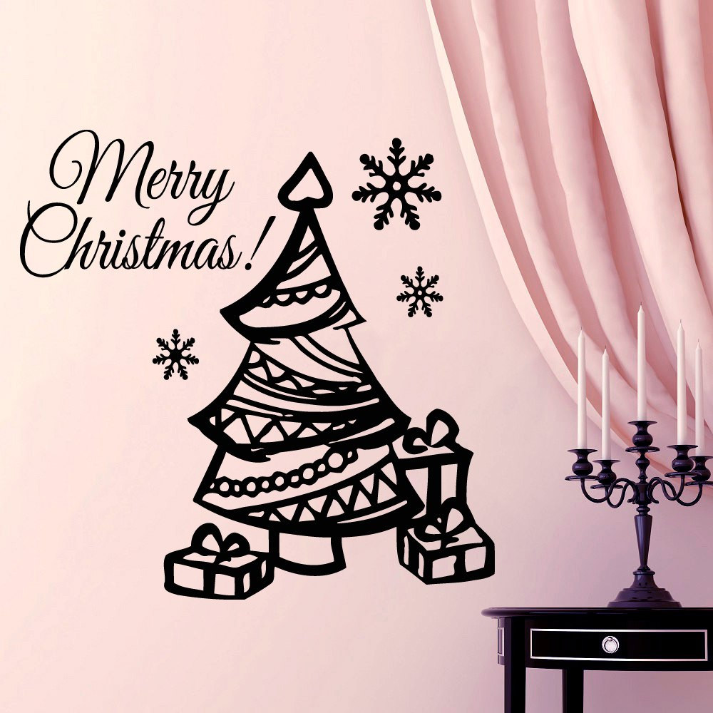 christmas gifts with cute christmas tree wall sticker vinyl merry christmas quotes home room festival decorative decals f 16 in wall stickers from home