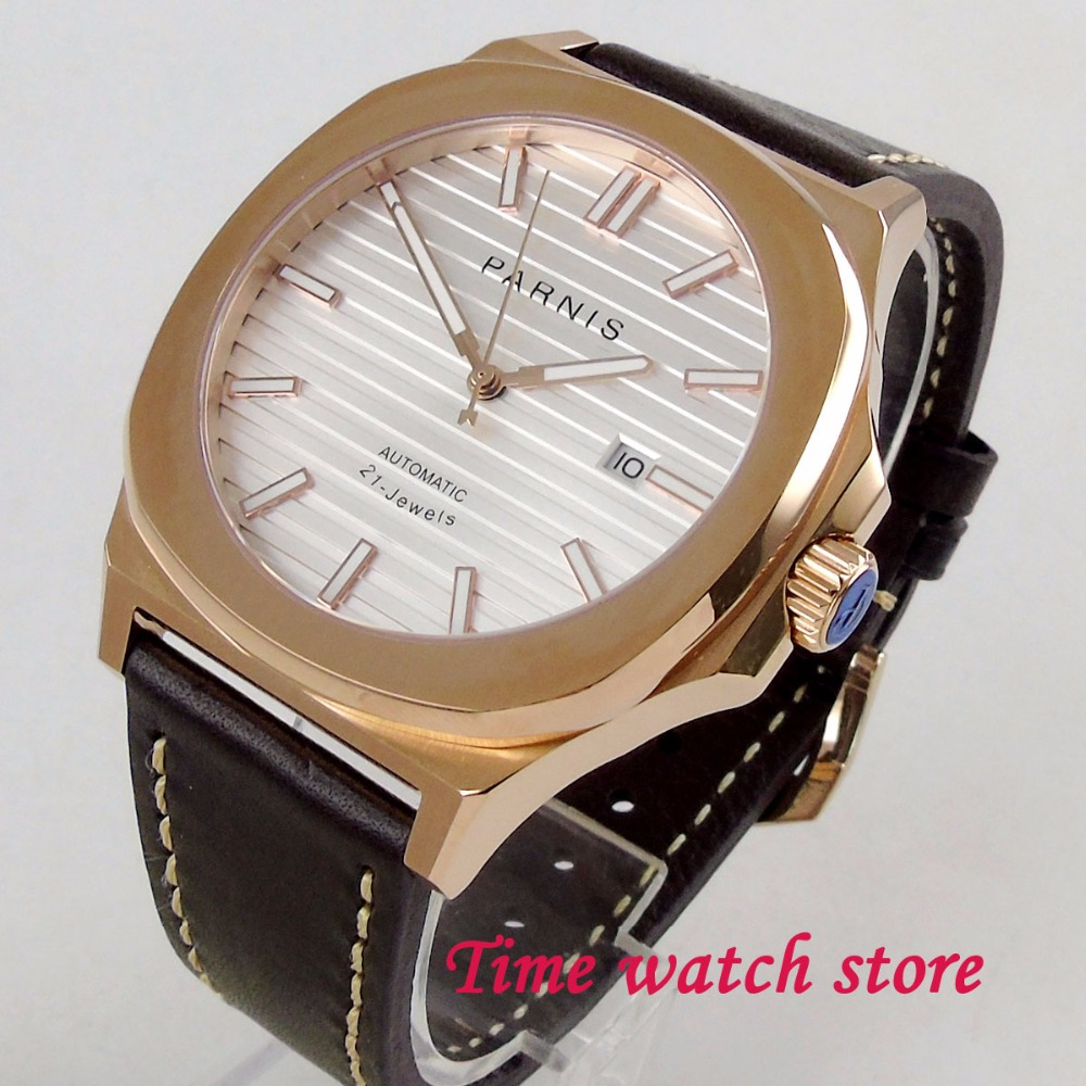 лучшая цена Parnis 44mm golden square case white dial luminous sapphire glass 21 jewel MIYOTA 821A Automatic movement Men's watch men 1210