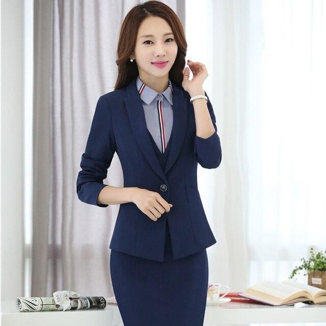 caf7d89a58 Elegante Azul Escuro Outono Inverno Formal Styles Uniformes Profissionais  Ternos de Negócio Ternos de Saia Para