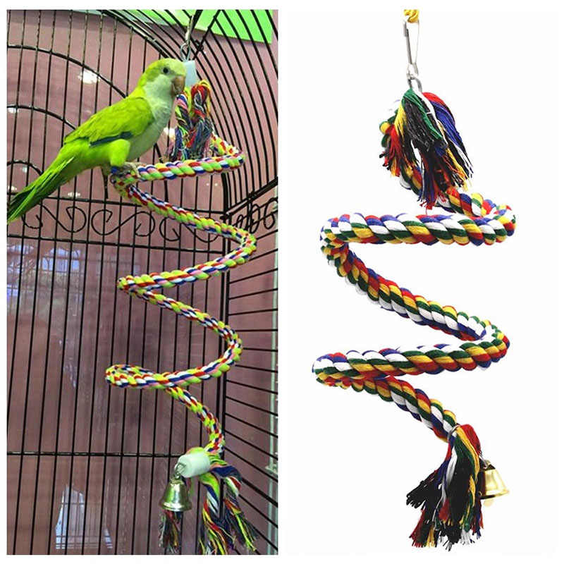 Parrot Rope Toy Braided Parrot Chew Rope Perch Coil Bird Cage Cockatiel Toy Pet Bird Training Accessories Pet Plaything Supplies
