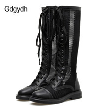 Gdgydh Ladies Summer Boots Hollow Out Womens Round Toe Transparent Mesh Nightclub Knee High Boots Summer Shoes Lace Up Black(China)