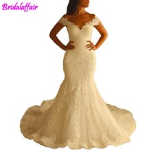 Womens V Neckline Sexy Lace Wedding Dresses Long Mermaid Bridal Gown mariage wedding gown dress mermaid robe