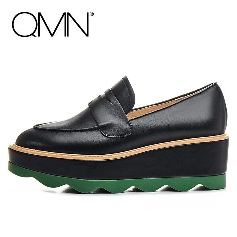QMN women genuine leather platform flats Women Cow Leather Loafers Slip On Leisure Shoes Woman Flats 34-39  qmn women genuine leather flats women horsehair loafers retro square toe slip on flat platform shoes woman creepers 34 42