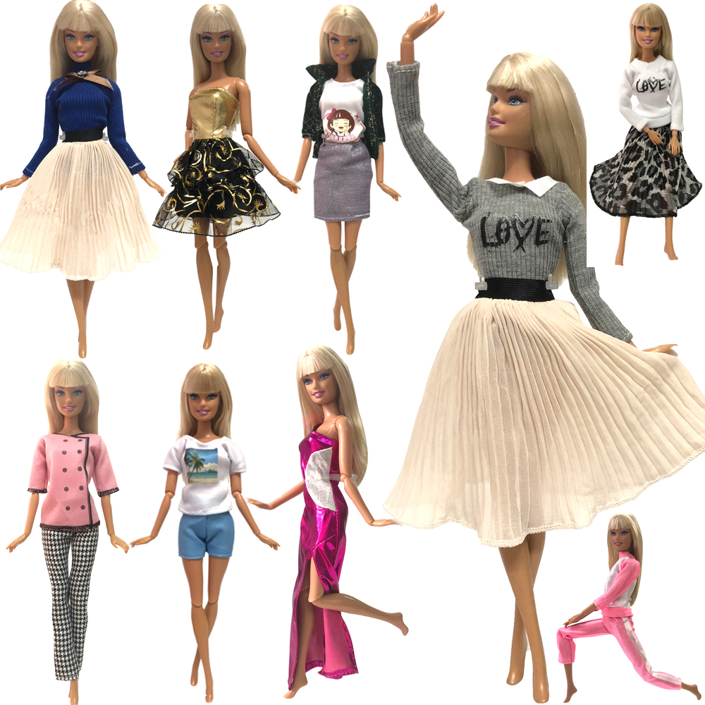 NK Two Set Multi-Group Optional Doll Dress Top Fashion Style Skirt Colorful Outfits For Barbie Doll  Accessories Best Gift JJ