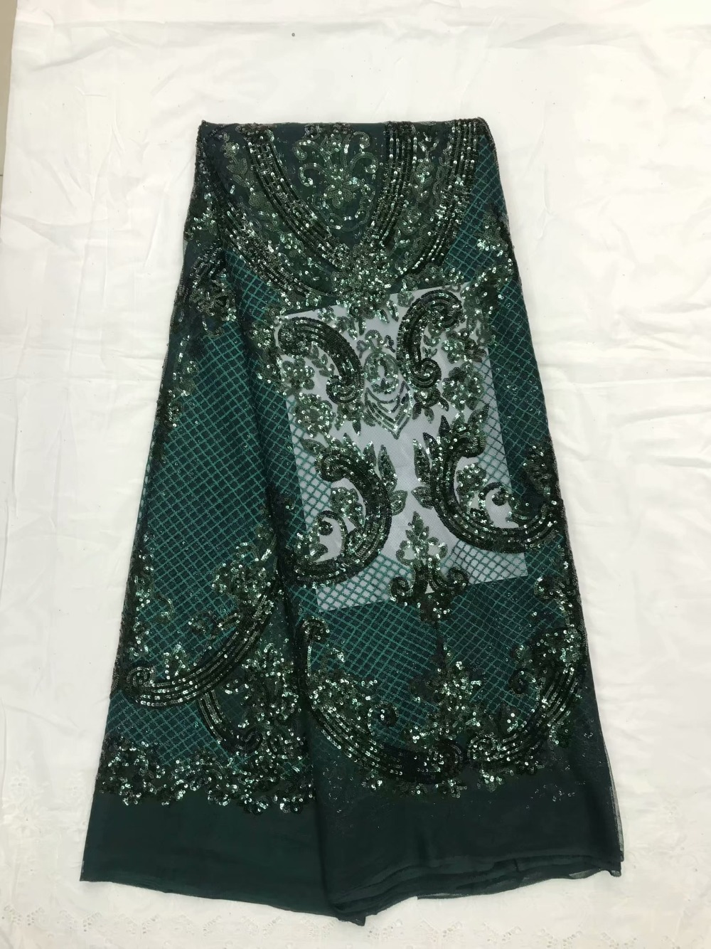 2018 High Quality African Lace Fabric Emerald green French Net Embroidery Sequins Tulle Lace Fabric For