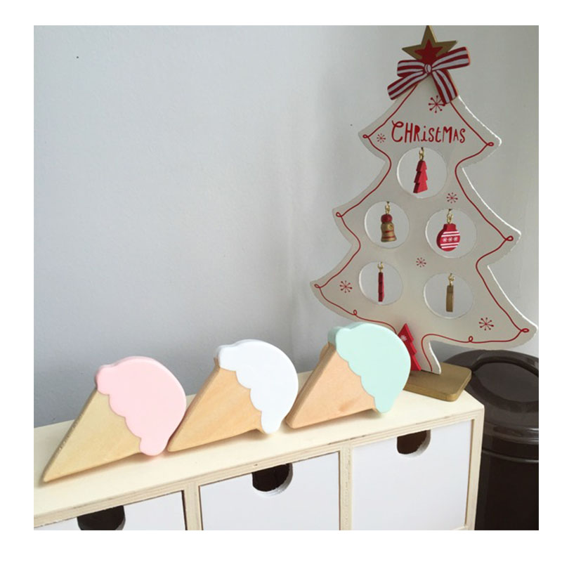 Eco Friendly Wooden Ice Cream Lovely Baby Clothes Hook Kids Children Room Wall Decoration Wood Hanger Hook Birthday Gift In Hooks Rails From Home Garden