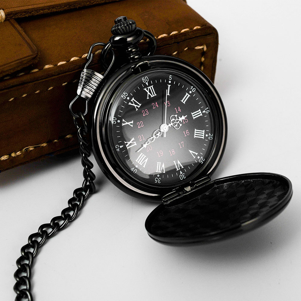 Personnalisé rétro lisse hommes noir montre de poche argent polonais Quartz Fob montres de poche pendentif avec chaîne personnalisé gravé cadeau