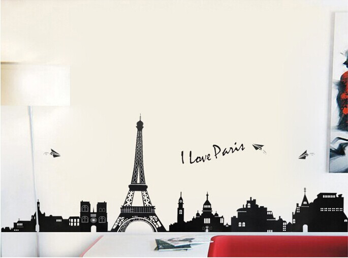 Free Shipping I LOVE PARIS Eiffel Tower DIY Removable Wall Stickers Parlor Kids Bedroom Home Decor House Decoration TC954