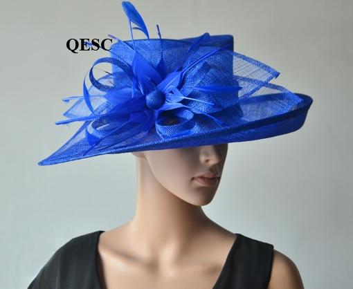 Темно синие вводной широкий платье с полями шляпка для церкви шапки с перо цветы для Ascot рас, свадьба, Кентукки Дерби вечерние. QHS063 - Цвет: Royal blue