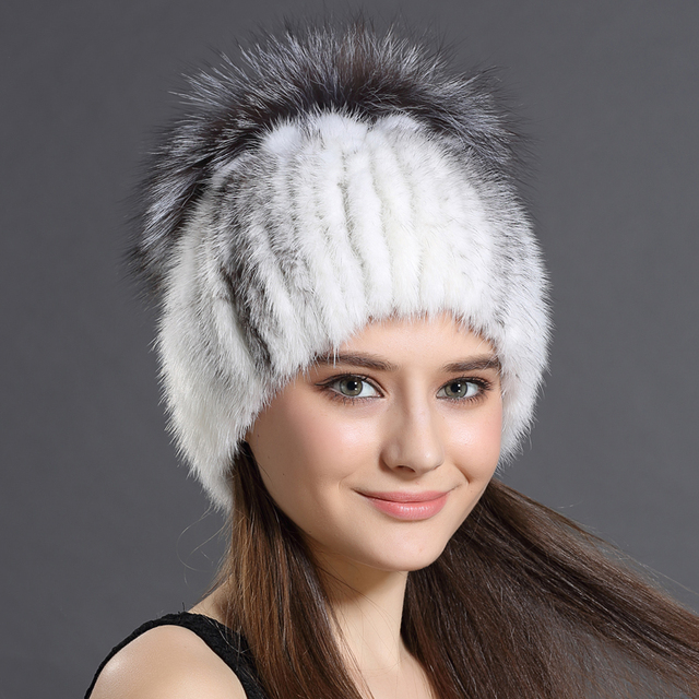 New Design Modern 3 Colors Women Winter Hats Warm Mink fur with Fox fur Solid Russian Hats New Fashion Hot Sale Winter Hats