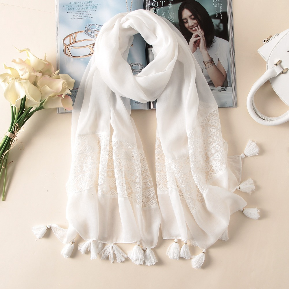 QA1106 Summer ultra thin white cool lace embroidery tassel silk scarf women beach pashmina foulard femme