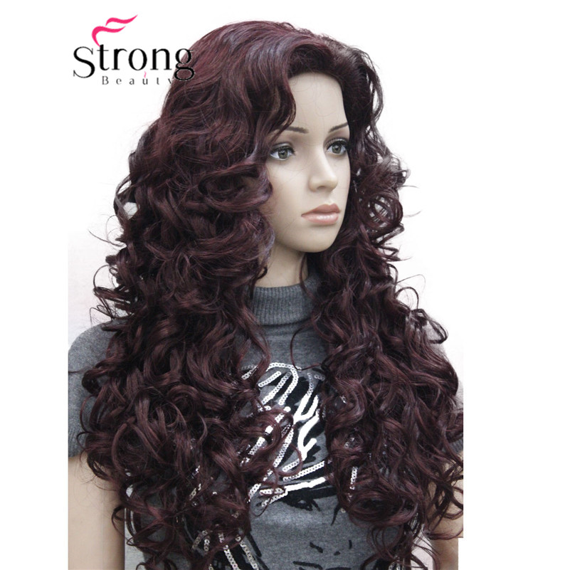 5950 99Tfashion sexy Red Wine long curly womans full wig (5)