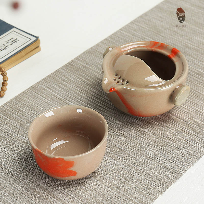 Drinkware Rough pottery coffee tea sets,chinese kung fu tea set ceramic teapot tea cup portable travel tea set