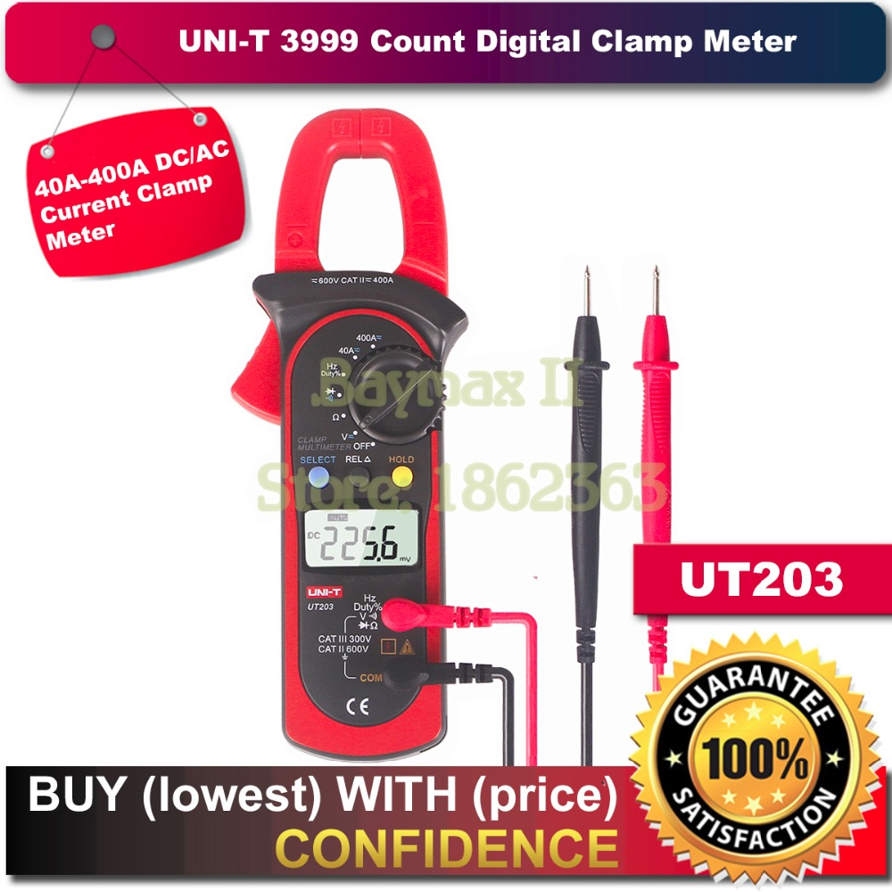 UNI-T UT203 3999 Count 40A to 400A AC/DC Current Digital Clamp Meter with Voltage Resistance Frequency Test uni t ut203 400a ac dc digital clamp meter resistance frequency test duty cycle relative measurement digital hold auto shutdow