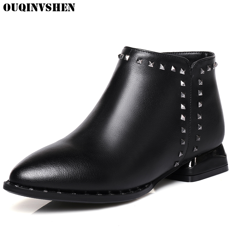 OUQINVSHEN Rivet Zipper Pointed Toe Boots Casual Fashion Women Ankle Boots Square heel Black High Heels Ladies Girl Boots Brand nemaone 2018 women ankle boots square high heel pointed toe zipper fashion all match spring and autumn ladies boots