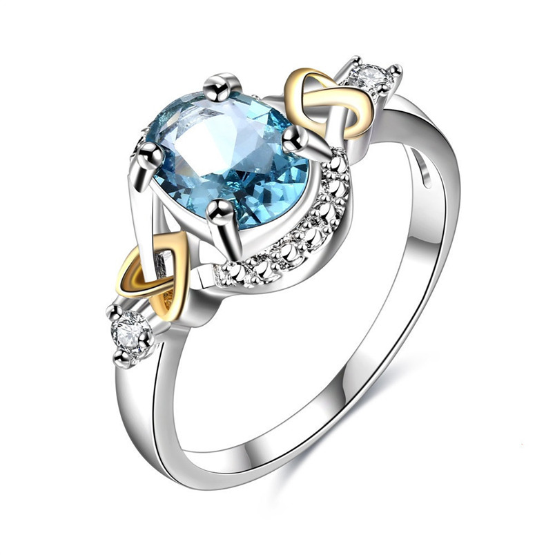 Wedding Rings For Women 100% Sterling 925 Silver Ladies Fine Jewelry Blue Oval Ring Bridal Engagement Party Bijoux Femme R542