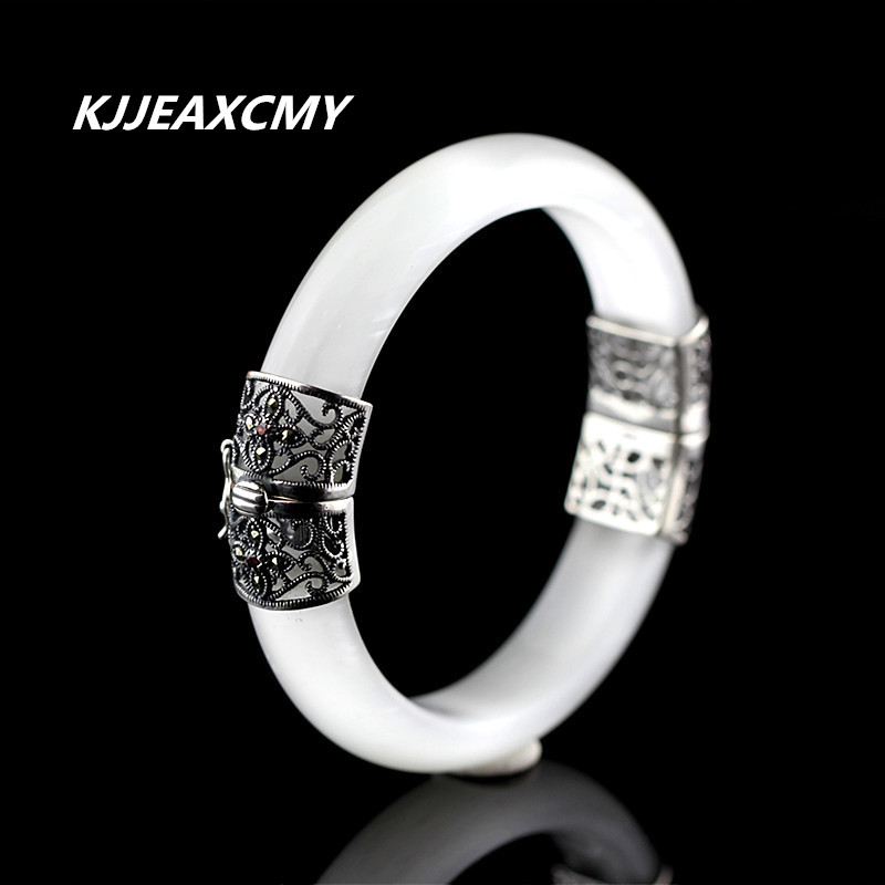 KJJEAXCMY S925 silver jewelry silver white delicate lady open BraceletKJJEAXCMY S925 silver jewelry silver white delicate lady open Bracelet