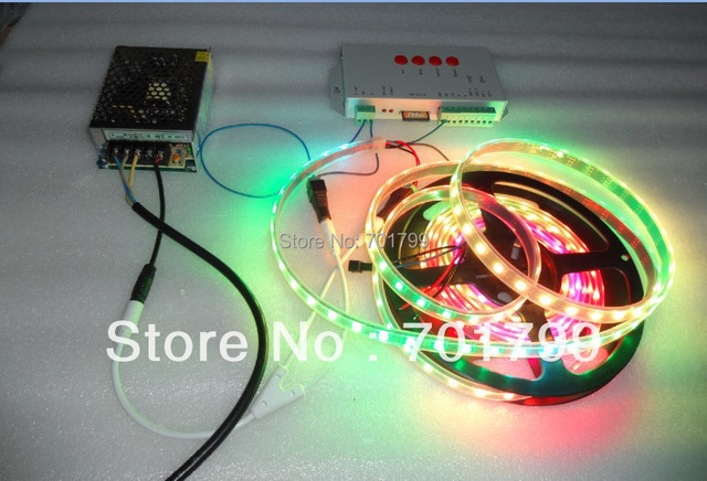 4m DC5V WS2812B BLACK PCB led pixel strip,IP68,60pcs WS2812B/M +T-1000S controller+5V/60W power supply