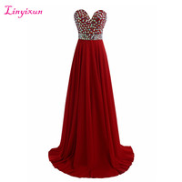 Linyixun Real Photo Chiffon Red Sweetheart Prom Dresses 2017 New Sweep Train Crystal Party Evening Gown Luxury Vestido de festa
