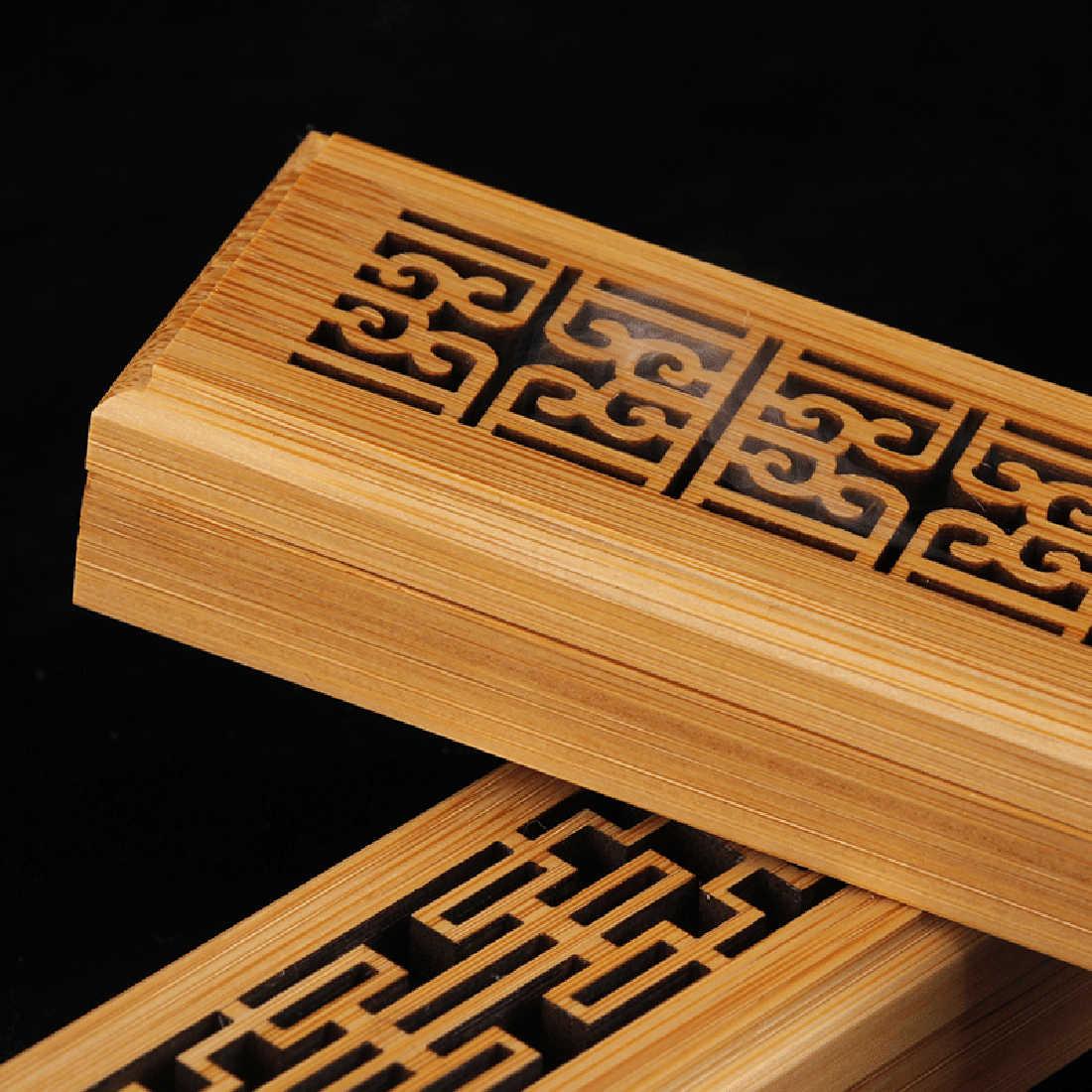 Бамбуковая ладана горелка подставка для ароматических палочек ручная резьба полый коробка для ароматерапии лежа курильница украшения дома офиса буддха