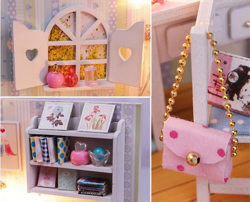 Miniatuur houten poppenhuis meisjes slaapkamer meubels kit diy
