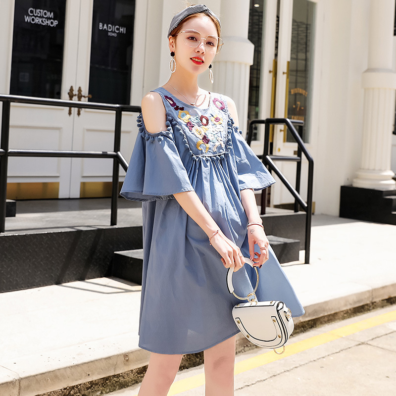 Maternity dress, summer flower dress, casual wear, Tassels mon wear LD8DS-02 [Eleven Story]