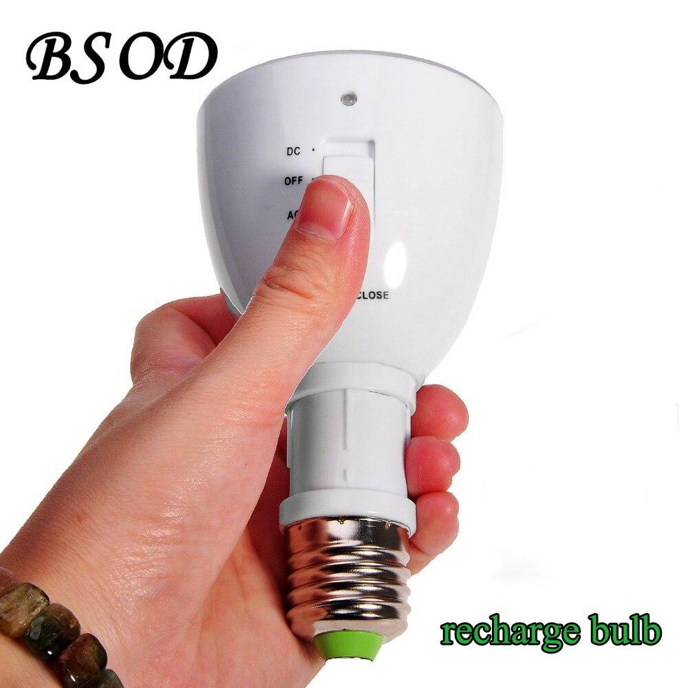 BSOD Multi-fonctionnelle LED D'urgence Ampoule AC85-265V Rechargeable Lampe Magique E27 Lampe De Poche pour La Maison Éclairage Intérieur Blanc