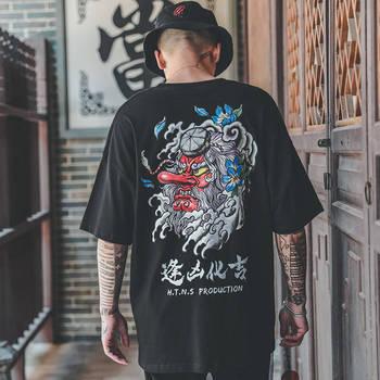Hip Hop T Shirt Men Japan Devil T-shirt Harajuku Tshirt Streetwear Casual Short Sleeve Summer Tops 2019 Cool Black T Shirt Boys