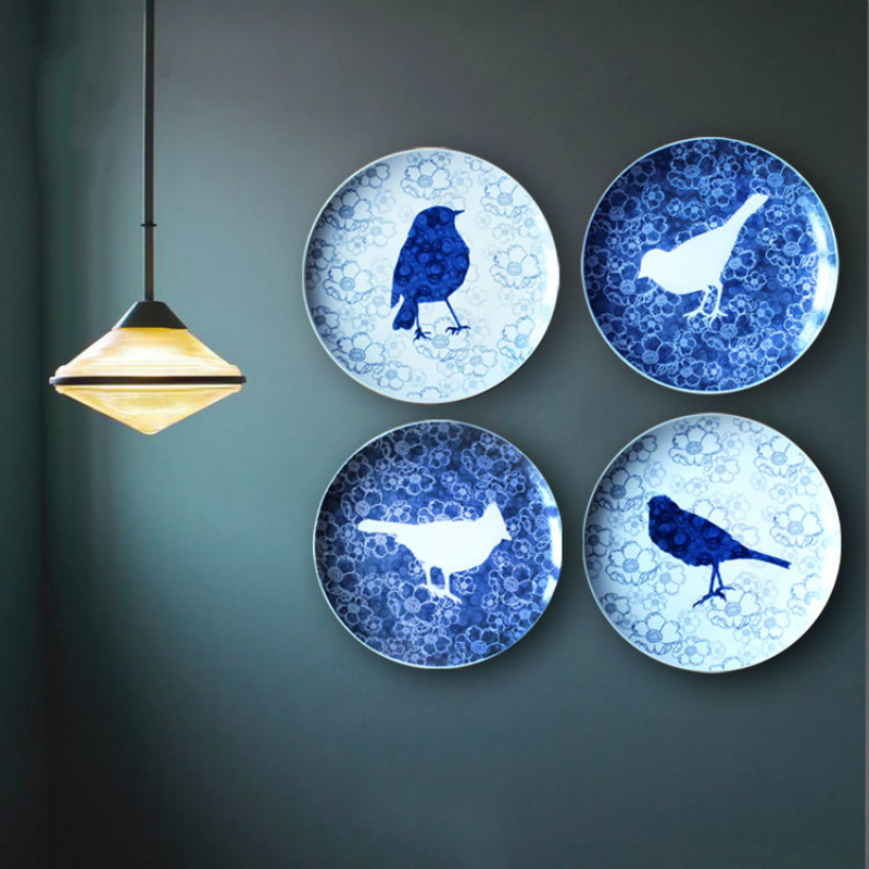 personality handmade secret garden bird plate ceramics wall hanging decorative craft plate simple lines flowersbirds painting - Decorative Wall Plates
