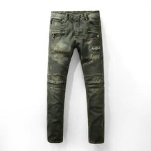 New Men Jeans Brand Distressed Slim Elastic Ripped Biker Jeans Men Hiphop Men Skinny Jeans Classic Brand Men's Jeans Denim Pants