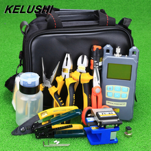 KELUSHI 23pcs Fiber Optic Cold Connection Tool Kit with FC-6S Cleaver Optical Power Meter 10mW Visual Fault Locator Stripper