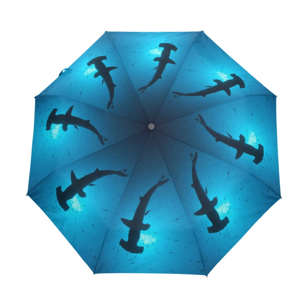 가리비 Hammerhead 상어 Windproof 파라솔 컴팩트 태양 우산 캐노피 자동 튼튼한 경량 여성 우산 자동차