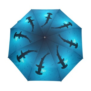 Scalloped Hammerhead Sharks Windproof Parasol Compact Sun Umbrella Canopy Automatic Sturdy Lightweight Women Umbrella for Car