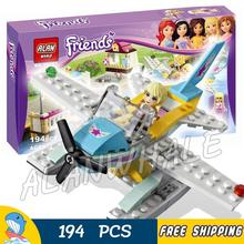 194pcs Friends Stephanie Heartlake Flying Club Water Plane 10157 Model Building Blocks Bricks Toys Set box Compatible With lego