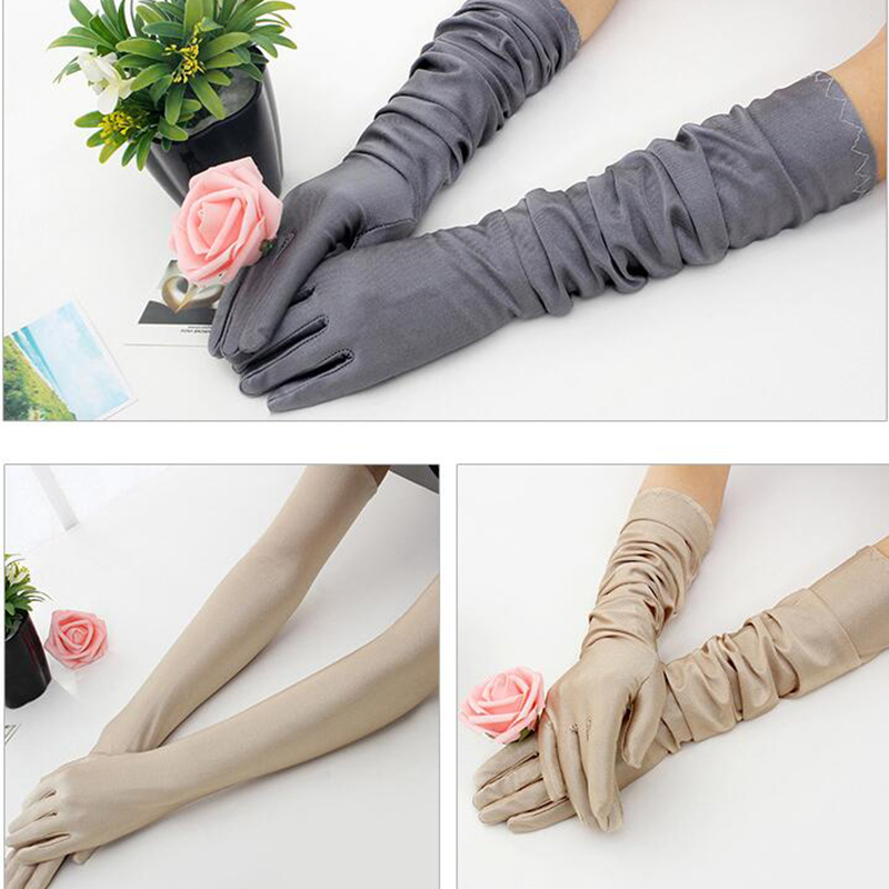 Fashion Gloves Prom-Costume Sun-Protection Opera Evening-Party Black White Long Finger-Elbow