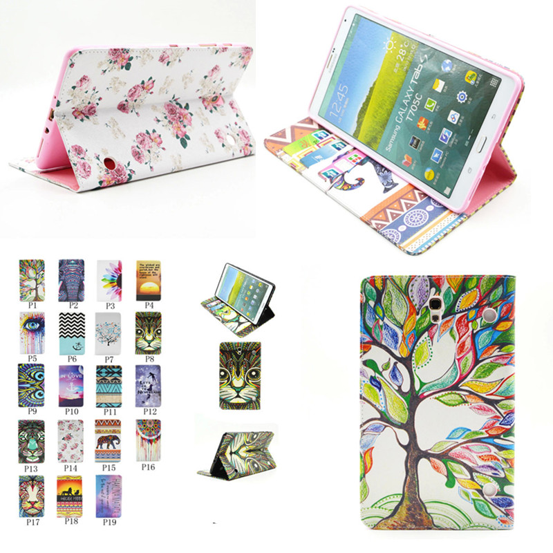 BF-Colorful Painting PU Leather Case for Samsung GALAXY Tab S 8.4 SM T700 T705 T705C Flip Stand Cover Case with Card Slot