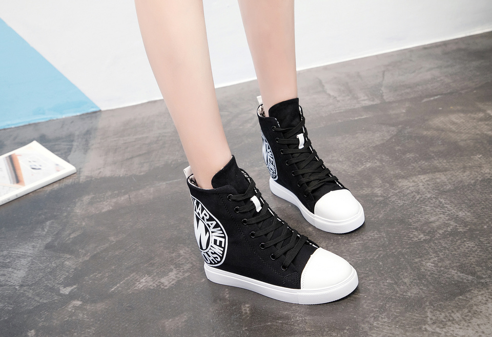 c0cbe1ec38a 2018 Wedges High Heels Thick Soled High Top Ladies Casual Shoes Women  Platform Canvas Shoes Hidden Wedge Shoes
