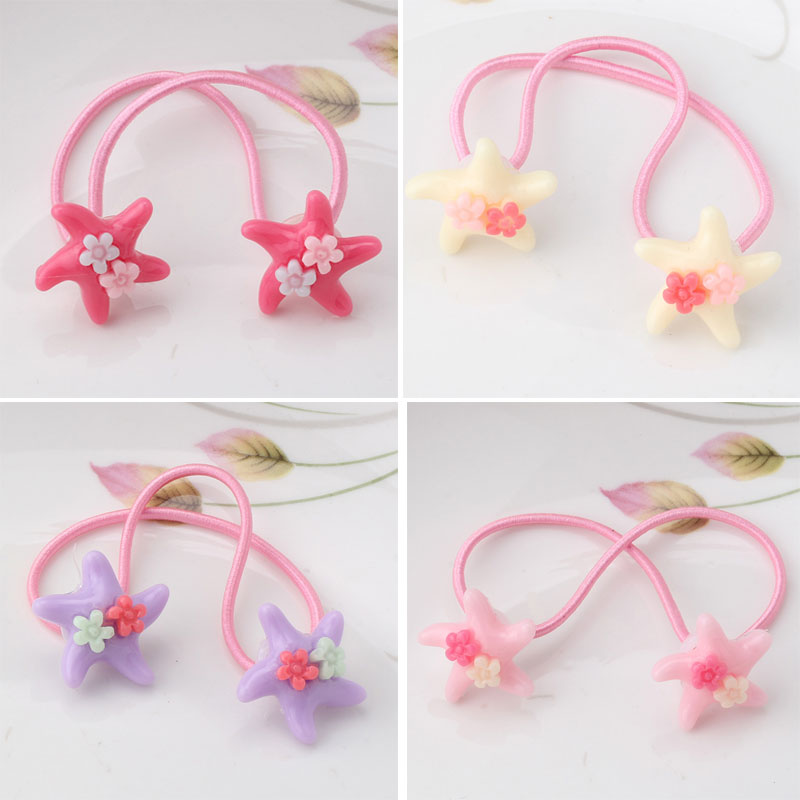 M MISM New Cute Lovely Starfish Flower Hair Elastic Bands Hair Accessories Rubber Band for Children Kids Girls Scrunchy 12pc set elastic hair rubber band children hair unicorn headband kids hair accessories gril hair band set cute unicorn cartoon