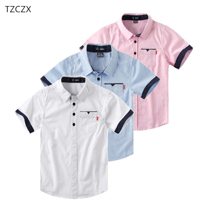 Promotion Hot Sale Children Shirts Casual Solid Cotton Short-sleeved Boys shirts For 4-12 Years Students wear in schoolPromotion Hot Sale Children Shirts Casual Solid Cotton Short-sleeved Boys shirts For 4-12 Years Students wear in school