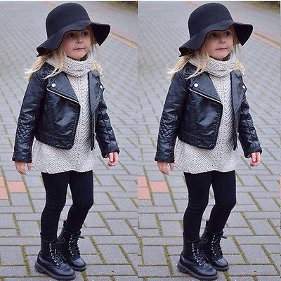 Fashion Toddler Kids Girl Clothes Motorcycle PU Leather Jacket Biker Coat Overcoat Black Winter Autumn Long Sleeve Outwear