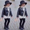 Moda Da Menina Da Criança Crianças Roupas de Couro Da Motocicleta PU Jaqueta Biker Casaco Casaco Preto Outono Inverno Outwear Manga Longa
